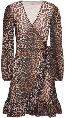 Ganni Leopard-print Mesh Mini Wrap Dress