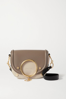 See by Chloe Mara Two-tone Leather Shoulder Bag - Light gray