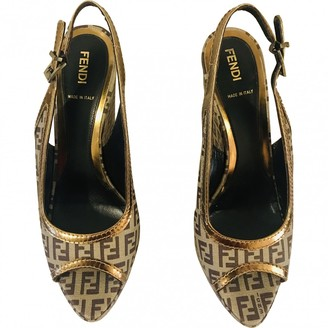 Fendi Brown Cloth Sandals