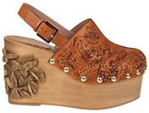RED Valentino Embellished Leather & Wood Clogs
