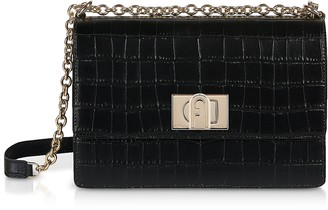 Furla Croco Embossed Leather 1927 S Crossbody Bag 24