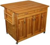 Catskill Craft Butcher Block Top Drop Leaf Kitchen Cart