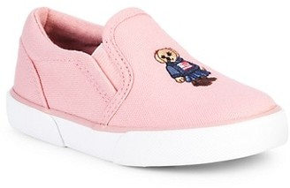 Ralph Lauren Little Girl's & Girl's Bal Harbour II Bear Slip-On Sneakers