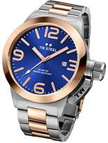 TW Steel Canteen Unisex Quartz Watch with Blue Dial Analogue Display and Silver Stainless Steel Bracelet CB142