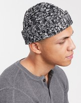 Asos Design DESIGN fisherman beanie in black and white cable knit