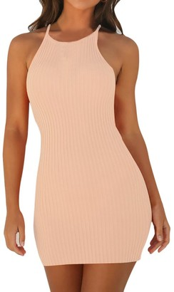 Xmiral Dress Women Sling Sleeveless Holiday Party Mini Dresses Body-con Knitted Sexy Gown(XL