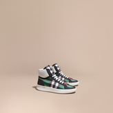 Burberry Leather And Check High-top Trainers , Size: 46, Green