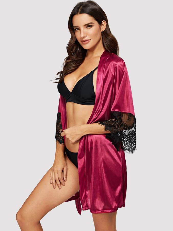 Contrast Lace Robe & Belt & Thong
