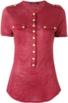Balmain button t-shirt - women - Linen/Flax - 38