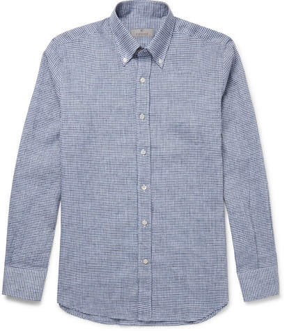 Canali Button-Down Collar Checked Linen And Cotton-Blend Shirt
