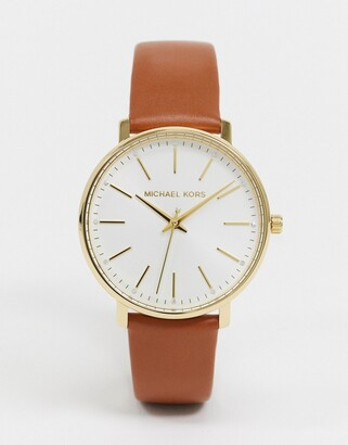 Michael Kors pyper leather watch in tan MK2740