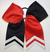 "6 1/2"" Black and Red Softball Hair Bow with White Glitter Tips"