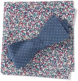 Original Penguin Miller Dot Bow Tie & Pocket Square Set