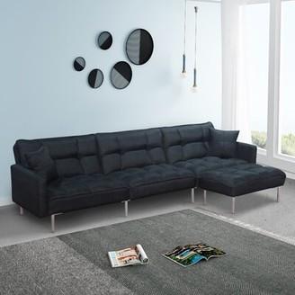 Ivy Bronx Holsinger 109'' Velvet Reversible Sleeper Sofa & Chaise with Ottoman Fabric: Blue