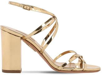 Aquazzura 85mm Gin Mirrored Leather Sandals