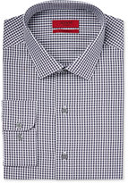 Alfani Men's Fitted Performance Black Small Gingham Dress Shirt, Only at Macy's