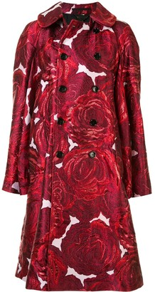 Comme des Garcons Rose-Print Double-Breasted Jacket