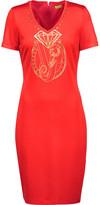Versace Embellished Printed Stretch-Knit Mini Dress