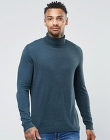 Asos Cotton Roll Neck Sweater in Teal