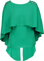 Halston Embellished draped washed-crepe de chine blouse