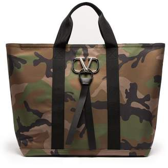 Valentino V Logo Camouflage Print Tote Bag - Mens - Green Multi