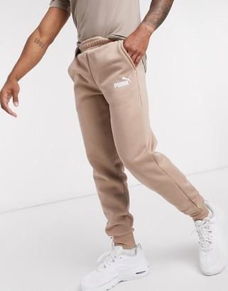 Puma Essentials logo sweatpants in dark tan