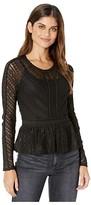 BCBGMAXAZRIA Long Sleeve Stretch Lace Top (Black) Women's Blouse