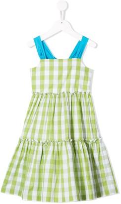 Il Gufo Gingham Check Flared Dress