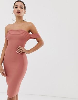 Bardot The Girlcode bandage dress in rust-Red