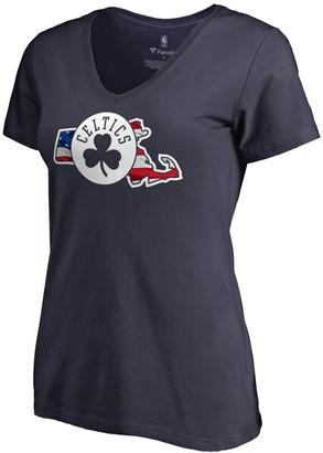 Women's Fanatics Branded Navy Boston Celtics Banner State V-Neck T-Shirt