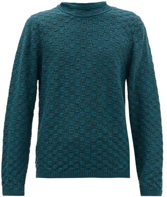 Inis Meáin Basketweave Linen And Silk-blend Sweater - Mens - Green