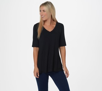 Halston H By H by Essentials Elbow-Sleeve V-Neck Hi-Low Hem Top