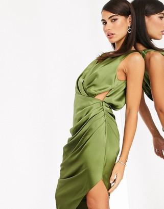 ASOS EDITION plunge satin midi dress with drape