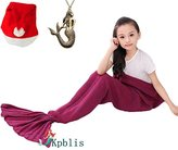 """Kpblis®Knitted Mermaid Blanket Tail for Kids and Adults,Super Soft and Fashion Sleeping Bags 55""""*27""""(Kids Violet)"""