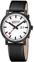 Mondaine Unisex Quartz Watch with White Dial Analogue Display and Black Leather Strap A627.30303.61SBB
