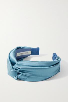 Jennifer Behr Twist Silk-satin Headband - Blue