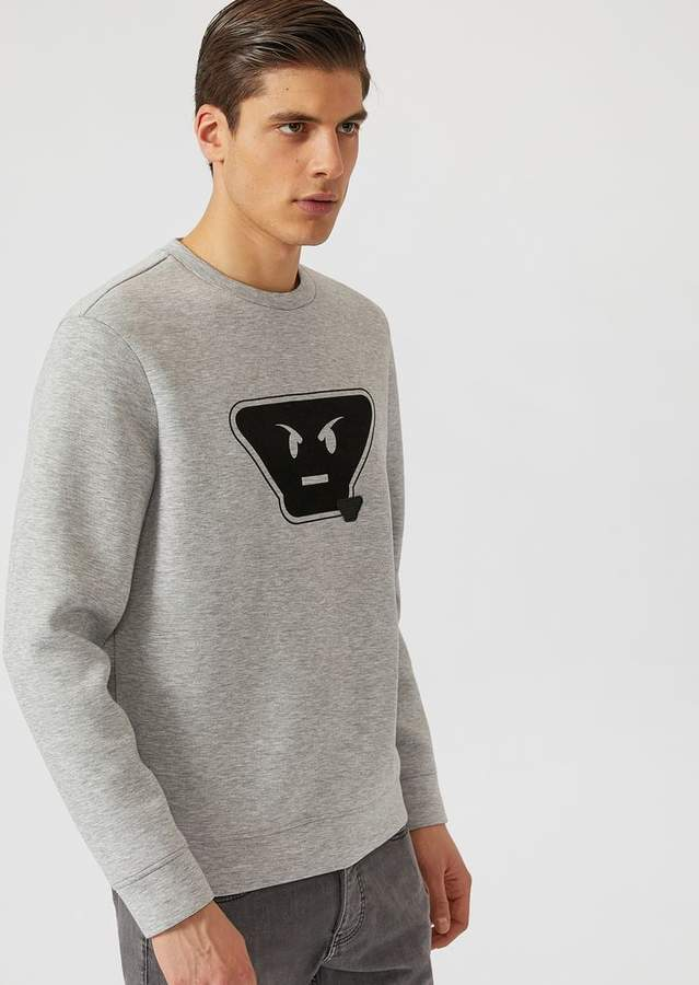 Emporio Armani Fancy Collection Scuba Fabric Sweatshirt With Emoticon Patches