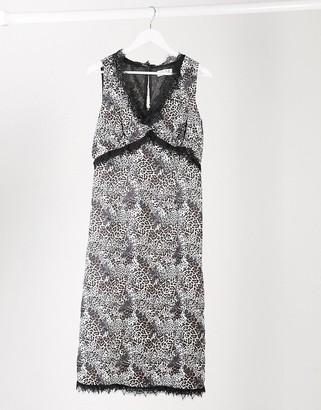 ELVI lace trim midi dress in leopard print