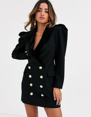 Ronny Kobo mayaletta statement shoulder blazer dress with buttons-Black