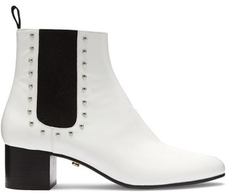 ALEXACHUNG Stud-embellished Patent-leather Chelsea Boots - Womens - White