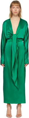 MATÉRIEL Green Silk Wrap-Around Gown