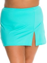 Fit 4 U Fit4U Solid Plus Size Swim Skirt with Slit 8113551