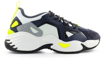 Emporio Armani Navy Blue White Suede Mesh Chunky Sneaker