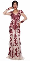 Atria Soutache Embellished Long Sleeve Evening Dress