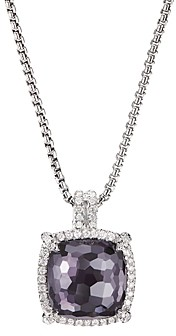 David Yurman Sterling Silver Chatelaine Pendant Necklace with Black Orchid & Diamonds, 18