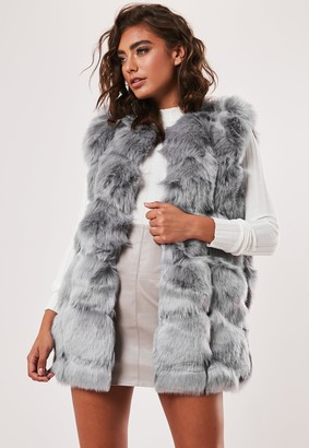 Missguided Light Grey Faux Fur Bubble Gilet