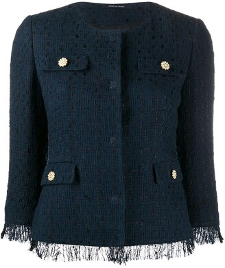Tagliatore Meg tweed style cropped jacket