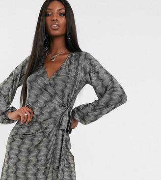 Asos Tall ASOS DESIGN Tall long sleeve sparkle wrap mini dress
