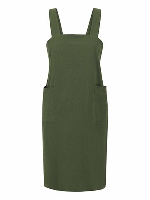 Romacci Women Pinafore Dress Solid Linen Cotton Square Neckline Sleeveless Crossover Backless Split Midi Work Pinafore with Pockets Black