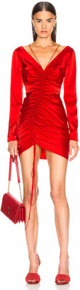 David Koma Ruched Front Mini Dress in Red | FWRD